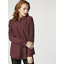 Printed Stretch Woven Button Front Shirt by Susan Graver