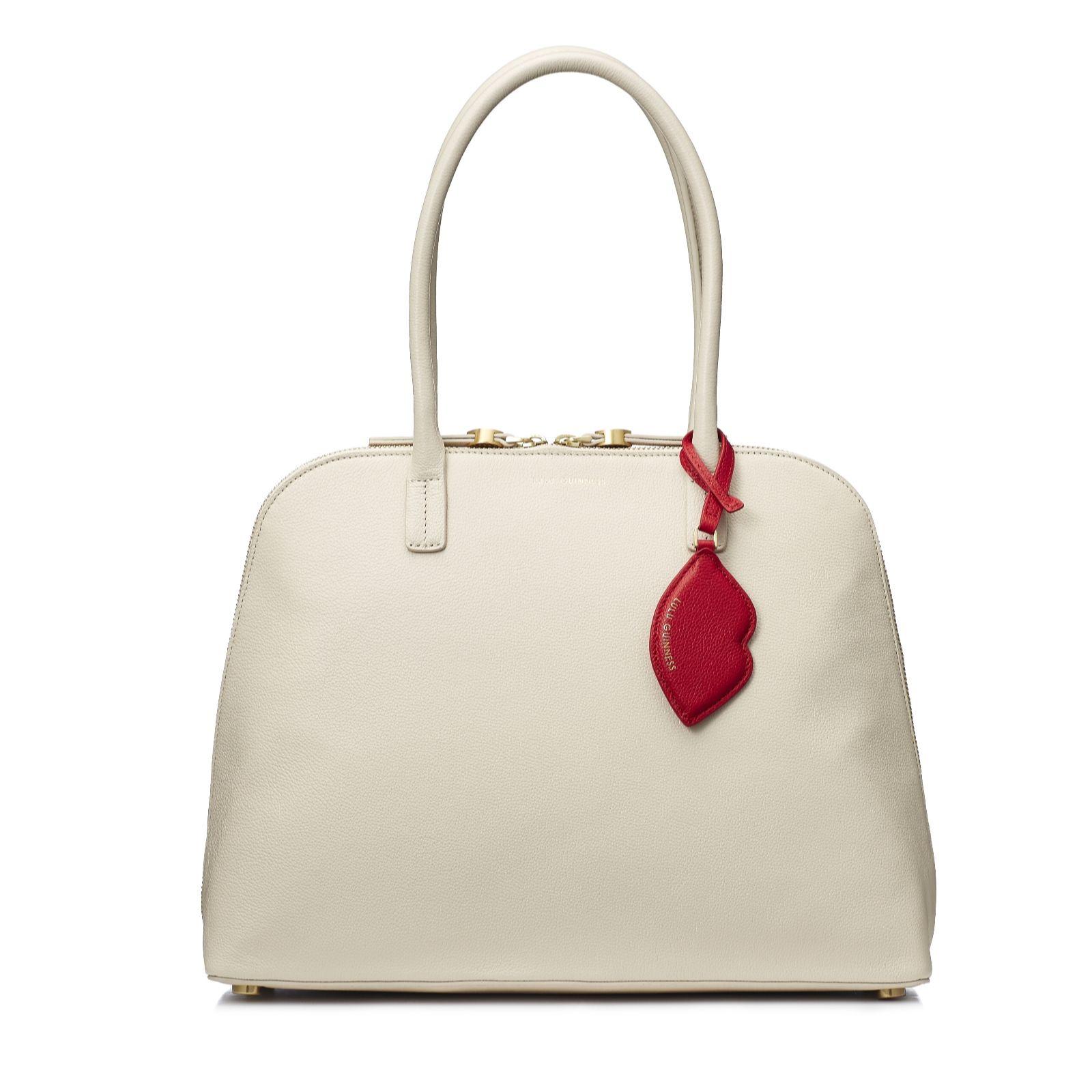 48d80861bc656 Lulu Guinness Bobbi Large Leather Shoulder Bag with Charm - QVC UK