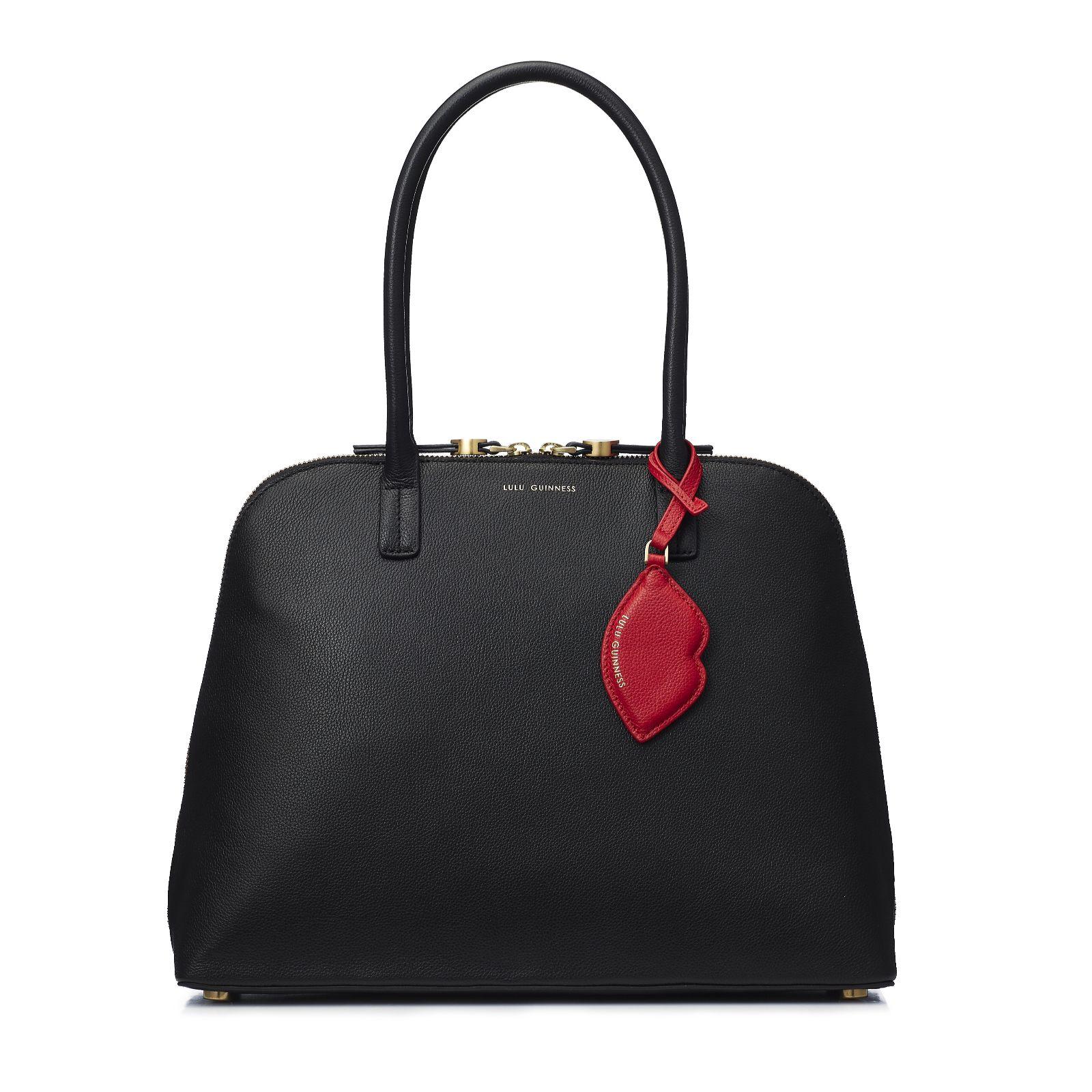 12f48da1a5 Lulu Guinness Bobbi Large Leather Shoulder Bag with Charm - QVC UK