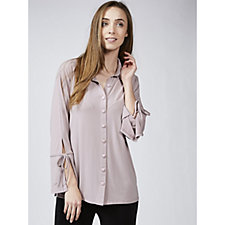 Crepe Jersey Shirt with Sleeve Detail by Michele Hope