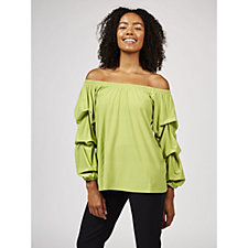 Antthony Designs Off The Shoulder Top with Shirring Detail
