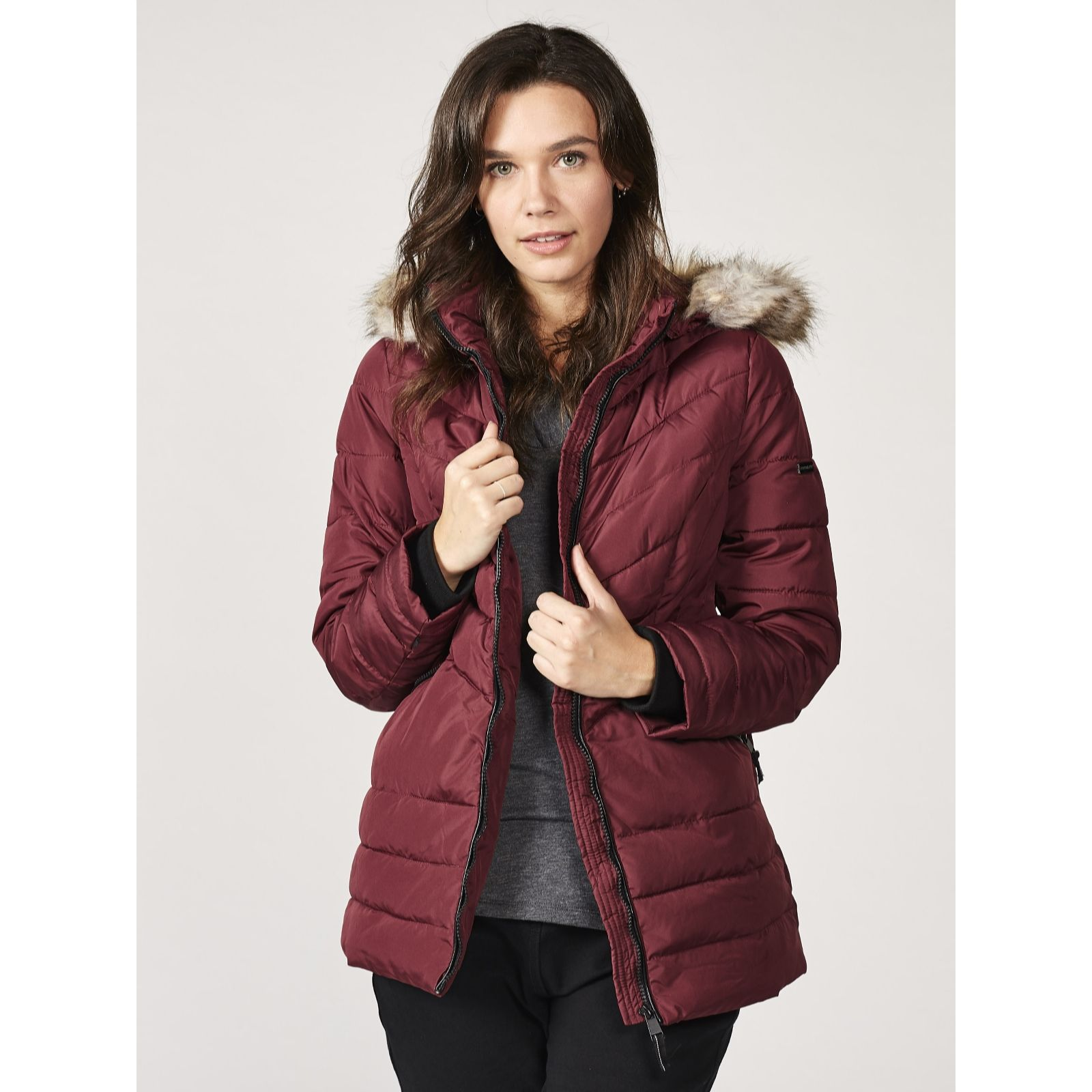 7e6afbc32b517 Centigrade Quilted Faux Fur Hooded Jacket - QVC UK