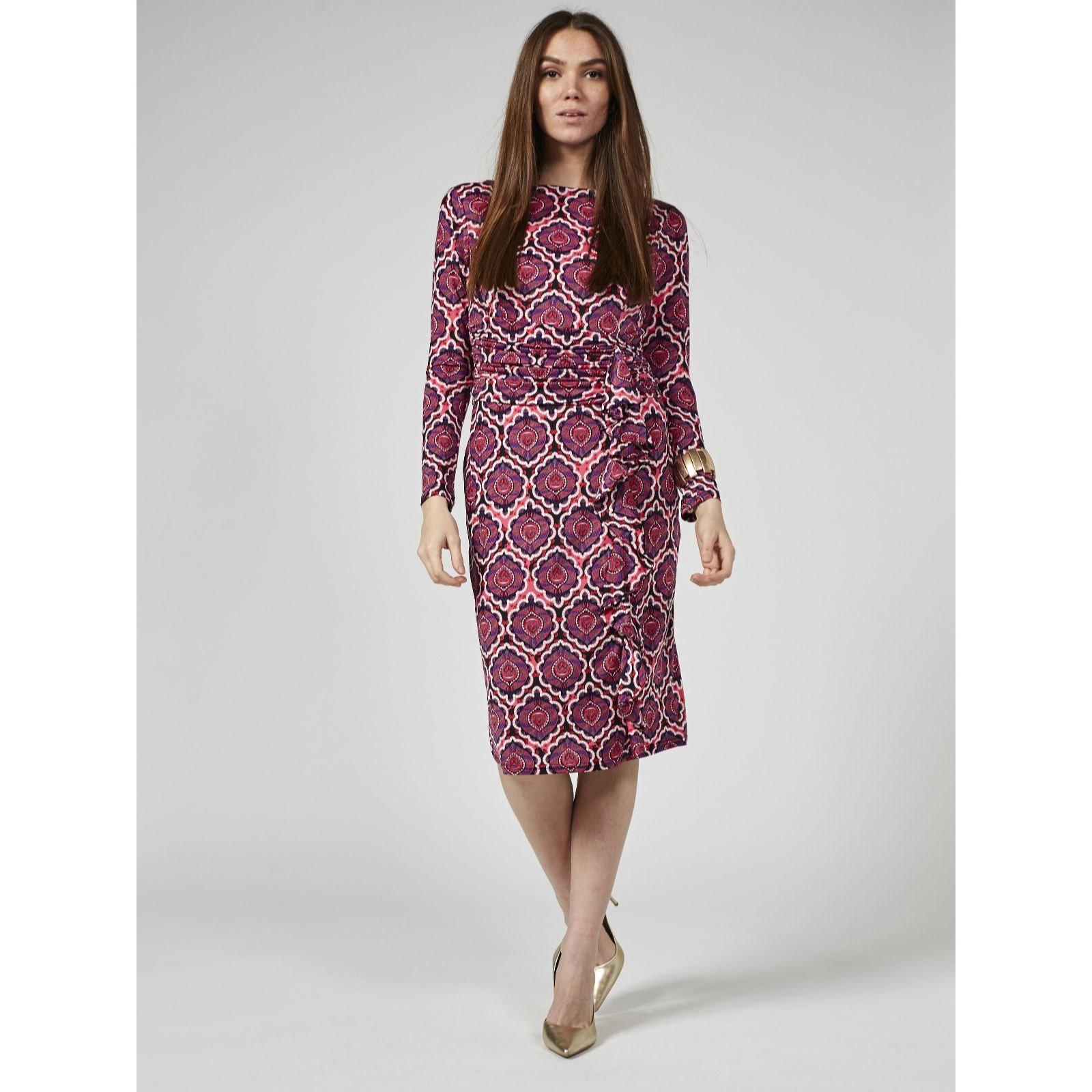 a0114856b5 Lola Printed Ruffle Front Long Sleeve Dress by Onjenu London - QVC ...