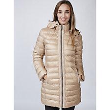 Rino & Pelle Faux Pearl Trim Pocket Detail Long Padded Zip Jacket