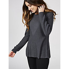 H by Halston Directional Rib Crew Neck Peplum Jumper