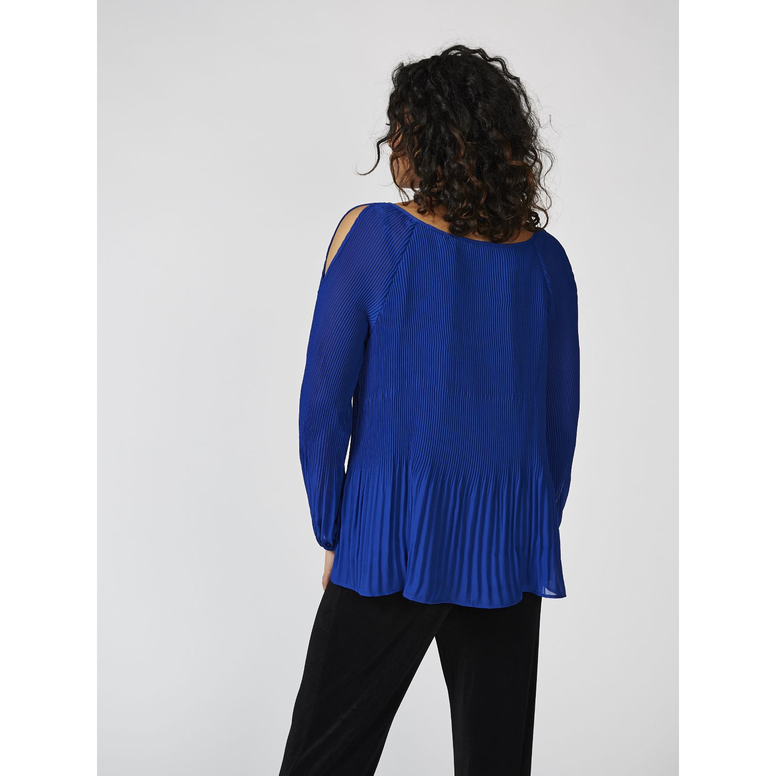 3b84e60b189ac Woven Pleated Cold Shoulder Top by Susan Graver - QVC UK