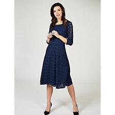 Ronni Nicole 3/4 Sleeve Lace Fit & Flare Midi Dress