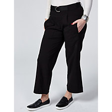 MarlaWynne Bengaline Cropped Straight Leg Trousers with Belt