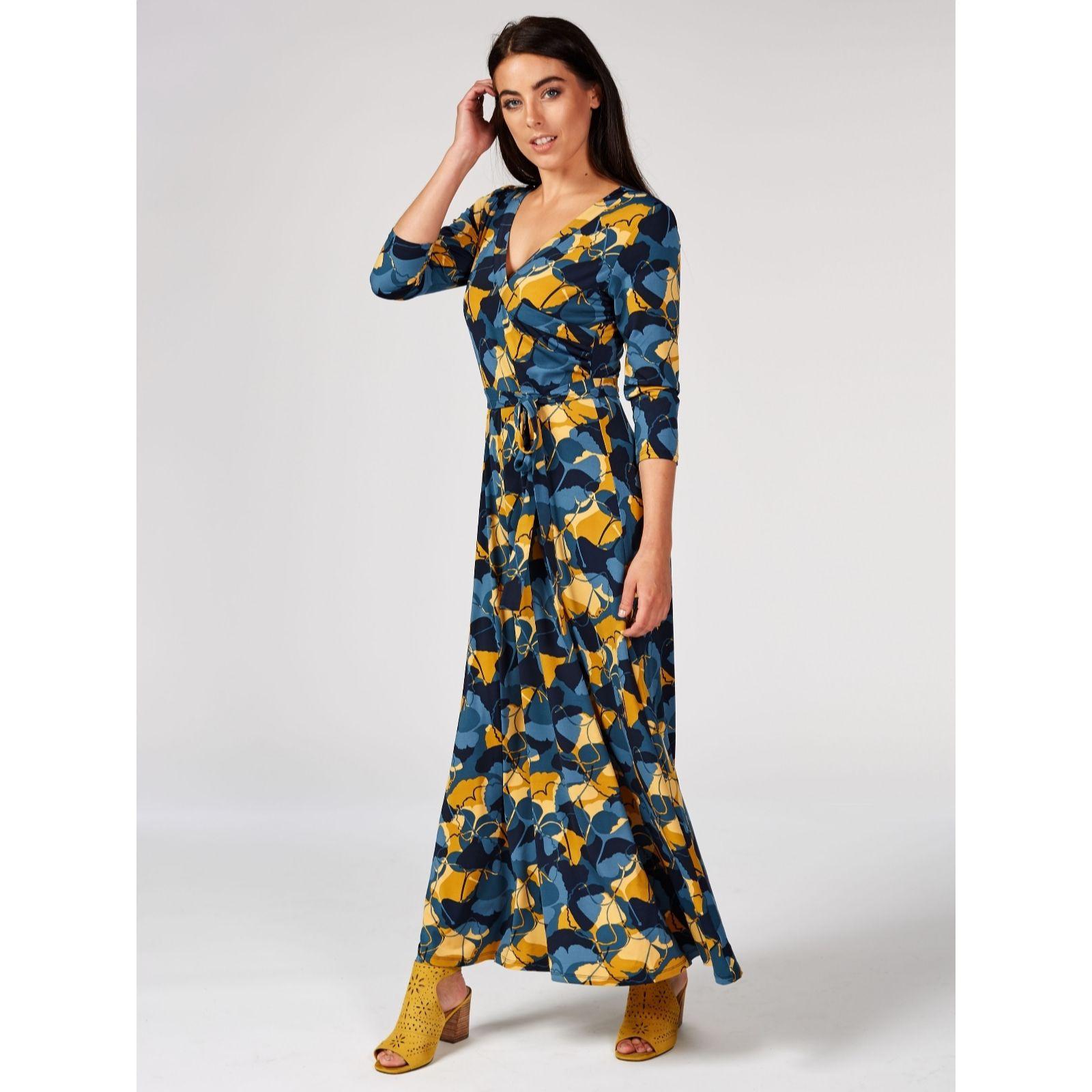 e7f5929073 Du Jour Printed Faux Wrap Maxi Dress Petite - QVC UK