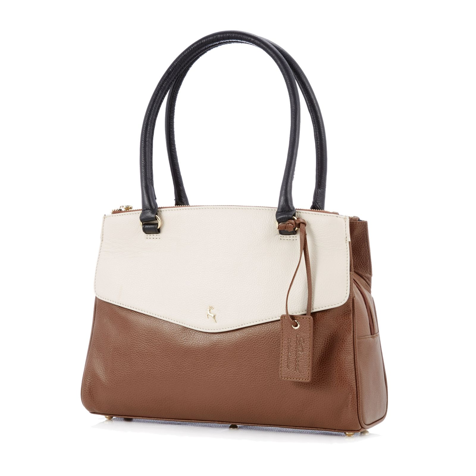 8d1c75159089 Ashwood Leather Triple Compartment Shoulder Bag - QVC UK
