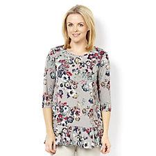 Kim & Co Brazil Knit Printed 3/4 Sleeve Frilled Tunic