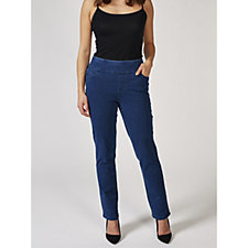 Denim & Co. Comfy Knit Smooth Waist Pull On St Leg Jean Petite