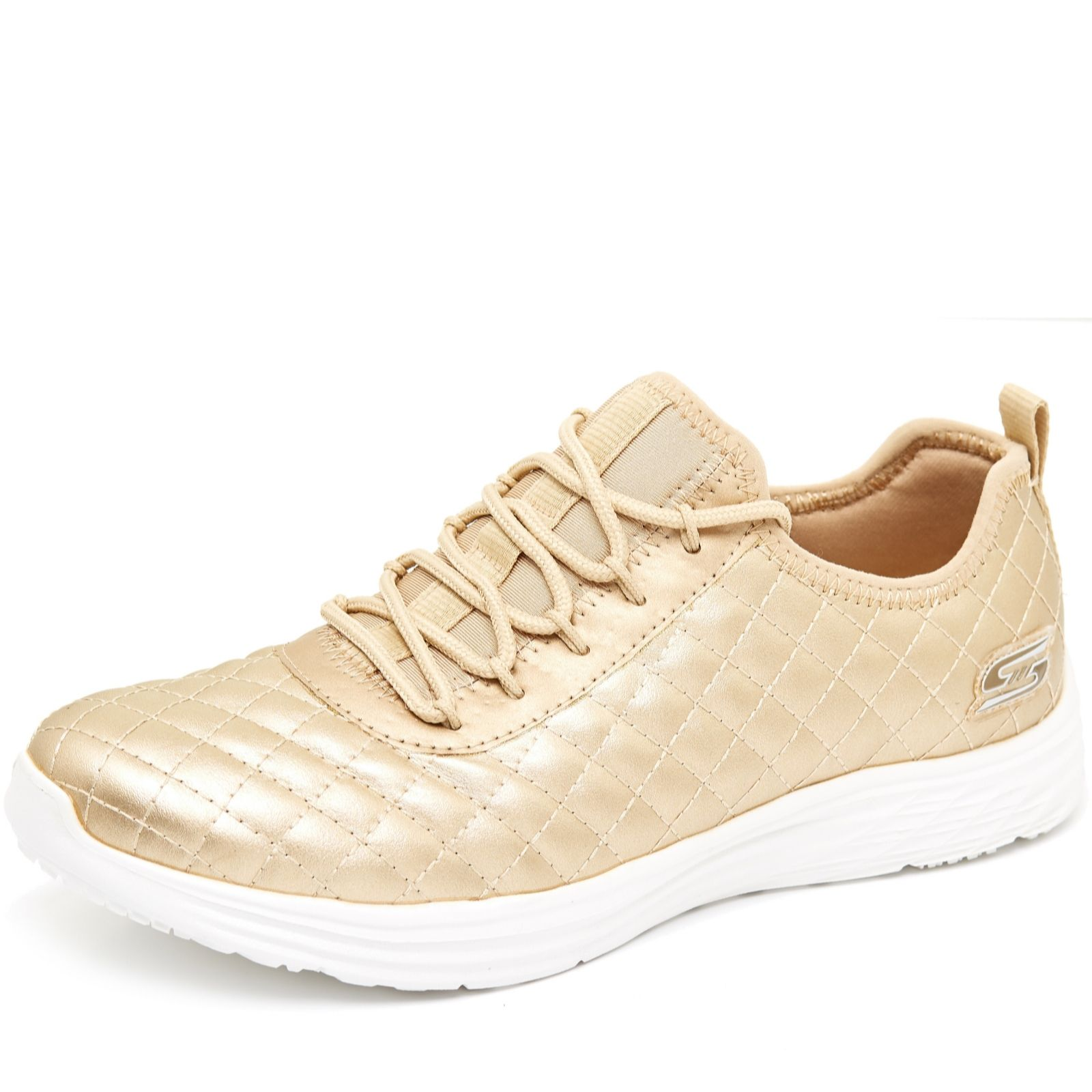 acd7abea177a Skechers Bobs Swift Social Hustle Metallic Quilted Lace Shoe - QVC UK