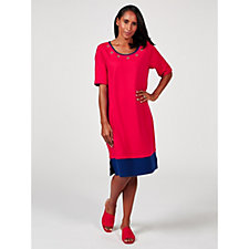 Quacker Factory Colour Block Trim Detail Dress