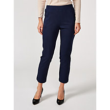 H by Halston Slim Ankle Knit Twill Pull On Trousers Petite