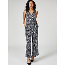Kim & Co Diamond Geo Brazil Knit Twist Front Pocket Wide Leg Jumpsuit