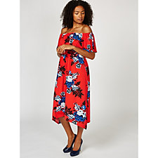 Du Jour Off The Shoulder Floral Printed Midi Dress