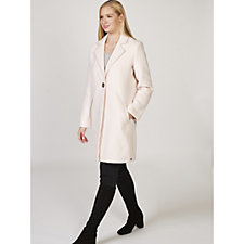 Rino & Pelle Polyester and Wool Blend One Button Coat