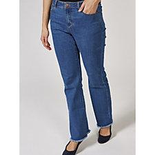 Hi Stretch Denim Jeans with Frayed Hem Detail by Susan Graver