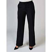 H by Halston Stretch Suiting Pleat Front Wide Leg Trousers Regular