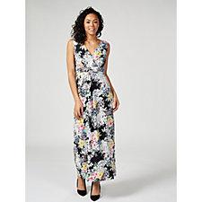 Kim & Co Printed Brazil Knit Sleeveless Maxi Dress