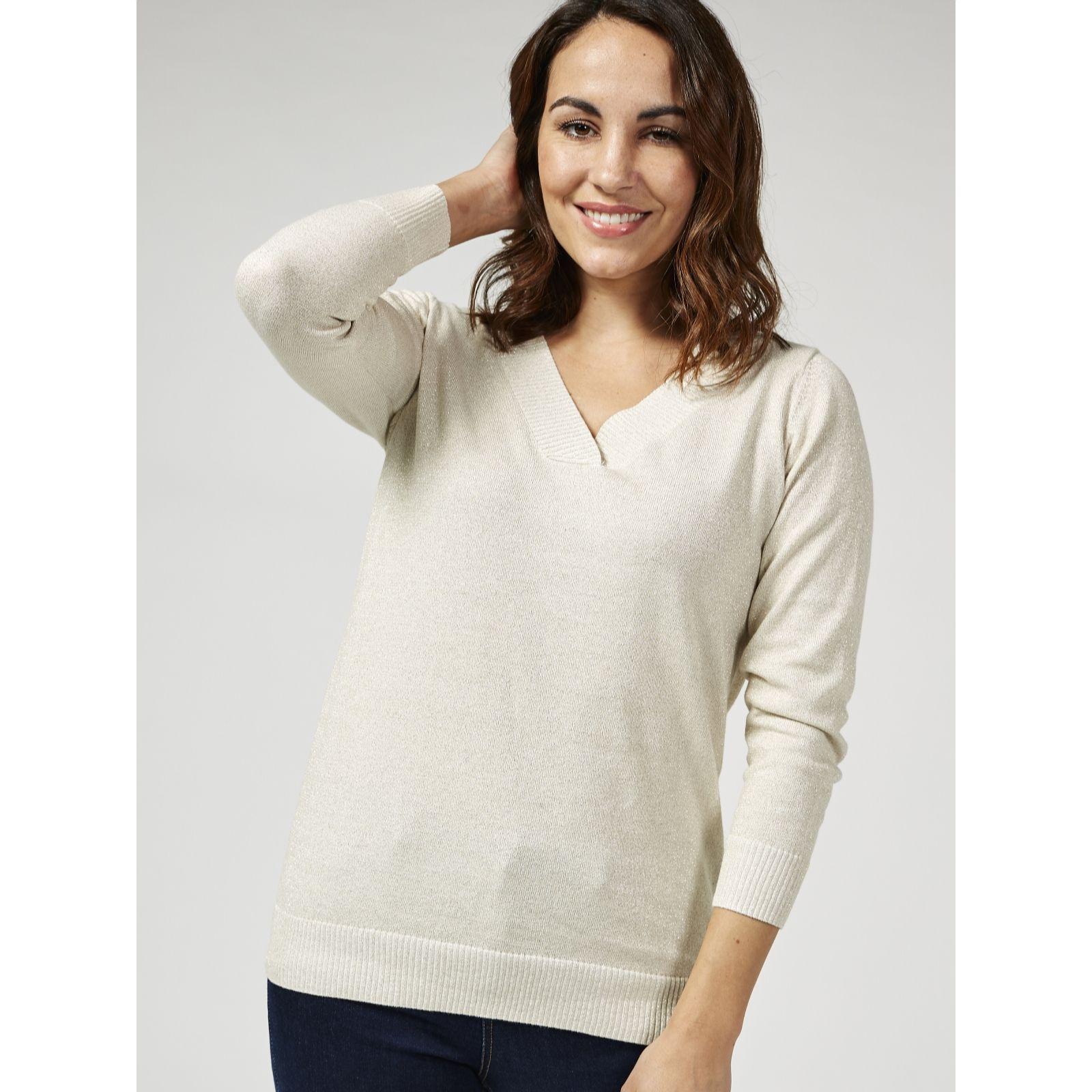 2687424199c Ruth Langsford Cotton Lurex Knit V Neck Jumper - QVC UK