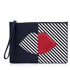 Lulu Guinness 50:50 Stripe Lip Smooth Leather Grace Pouch