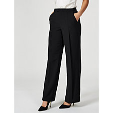 H by Halston Stretch Suiting Pleat Front Wide Leg Trousers Petite