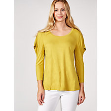 H by Halston Scoop Neck Top with Cut Away Flounce Sleeves