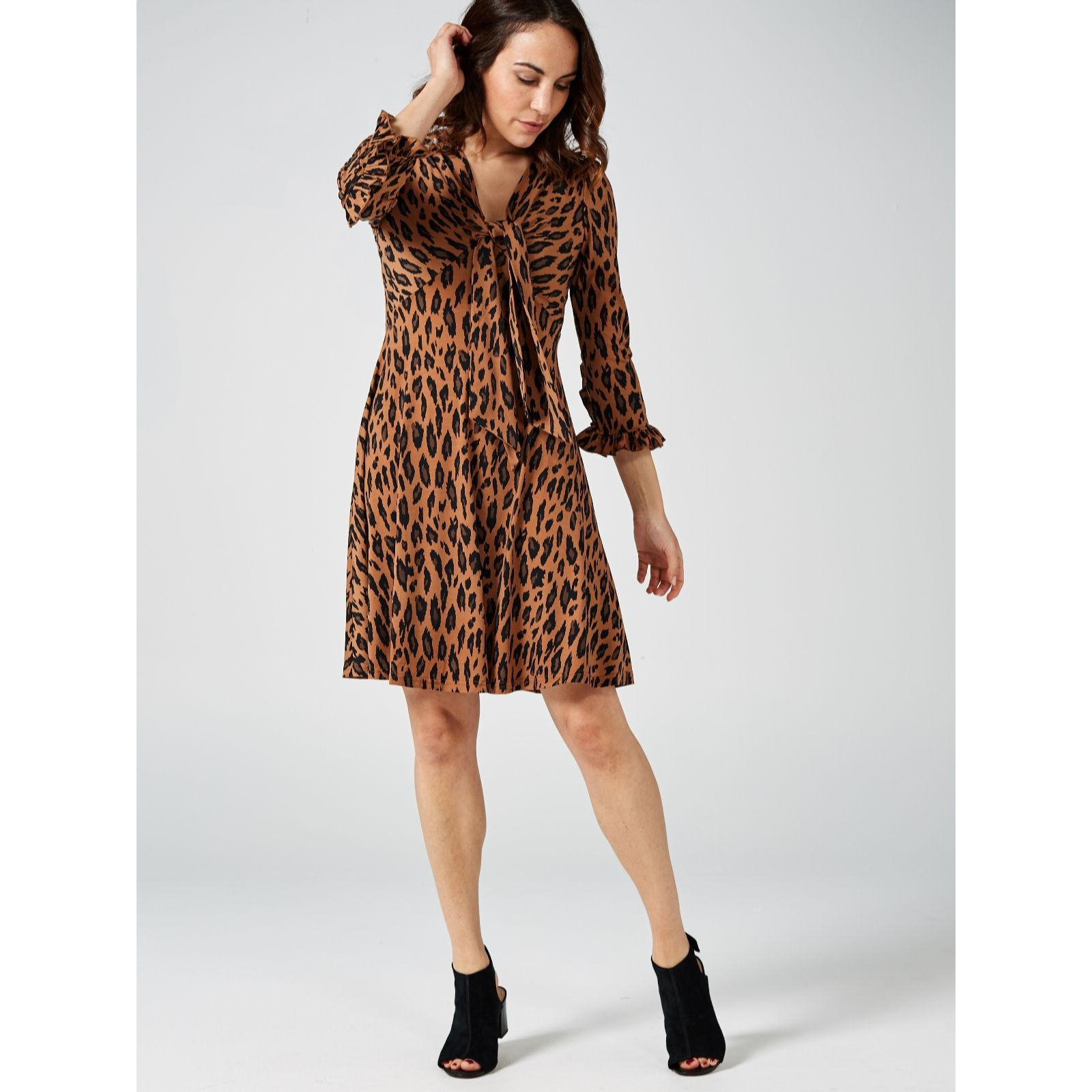 6af59796af96 Jolie Moi Tie Front Leopard Print knee length Dress - QVC UK