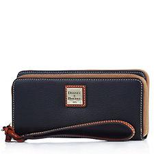 Dooney & Bourke Pebble Leather Double Zip Wallet with Wrist Strap