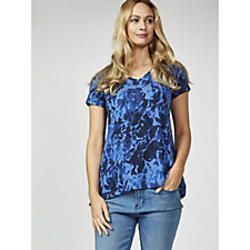 H by Halston Printed V Neck Short Sleeve Top
