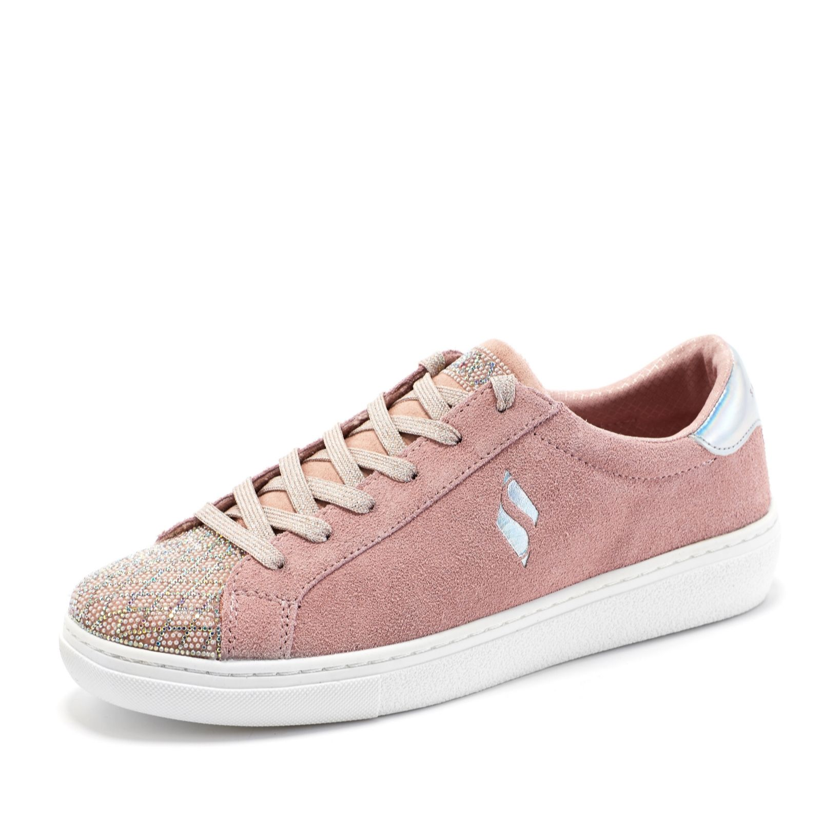 8392f8a6e14 Skechers Street Suede And Sparkle Lace Up Trainer - QVC UK