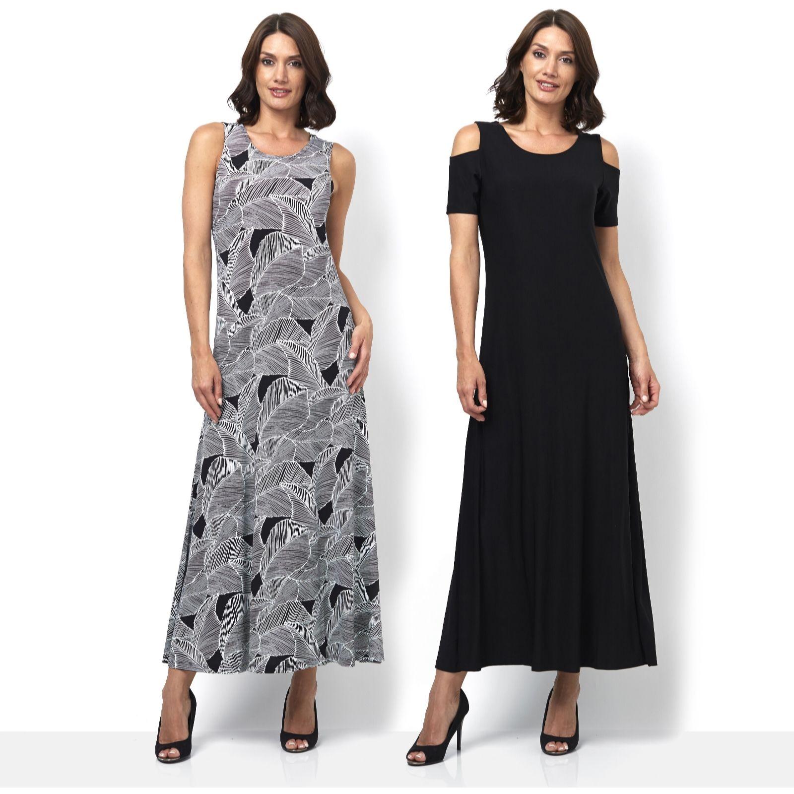 ab2f252970d Attitudes by Renee Print   Plain 2Pack Maxi Dress Petite Length - QVC UK