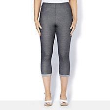 Grace Denim Look Turn Up Crop Trousers Petite