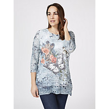 Joe Browns 3/4 Sleeve Sequin Butterfly Tunic