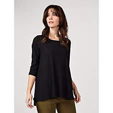 Attitudes by Renee 3/4 Sleeve Crepe Shirred Back Tunic
