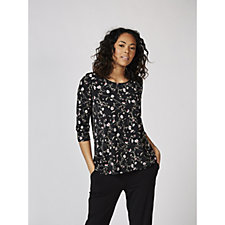 Kim & Co Brazil Knit Printed 3/4 Sleeves Hi Low Top