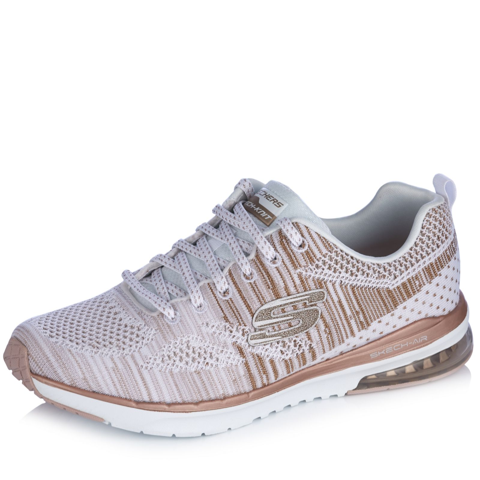 30128294af4a Skechers Air Infinity Stand Out Flat Knit Lace Up Trainer - QVC UK