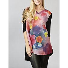 Butler & Wilson Flower Print V Neck 3/4 Sleeve Top