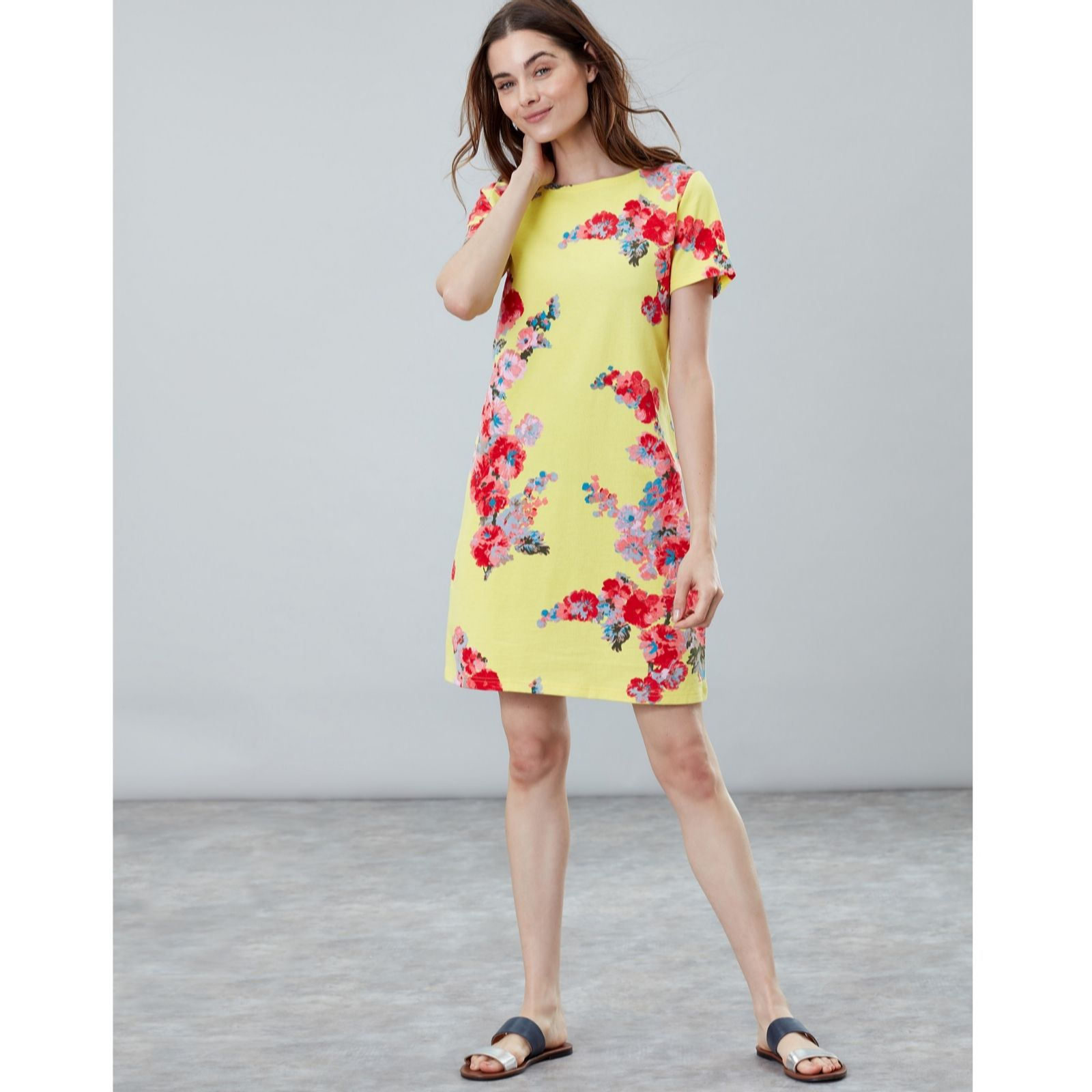 ebf1289030a2 Joules Short Sleeve Riviera Border Print Dress - QVC UK