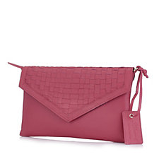 Ashwood Leather Clutch Bag with Weave Detail