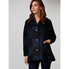 MarlaWynne Graphic Plaid Wool Blend Coat