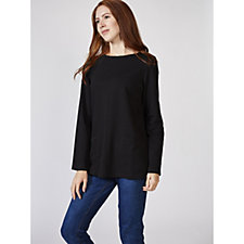 Denim & Co. Long Sleeve Boat Neck Top with Pockets & Seam Detail