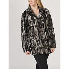 Rino & Pelle Textured Swirl Faux Fur Coat