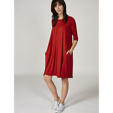Join Clothes 3/4 Sleeve Yoke & Pleat Detail Dress