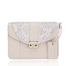 Ashwood Leather Square Cross-Body Bag with Snake Effect