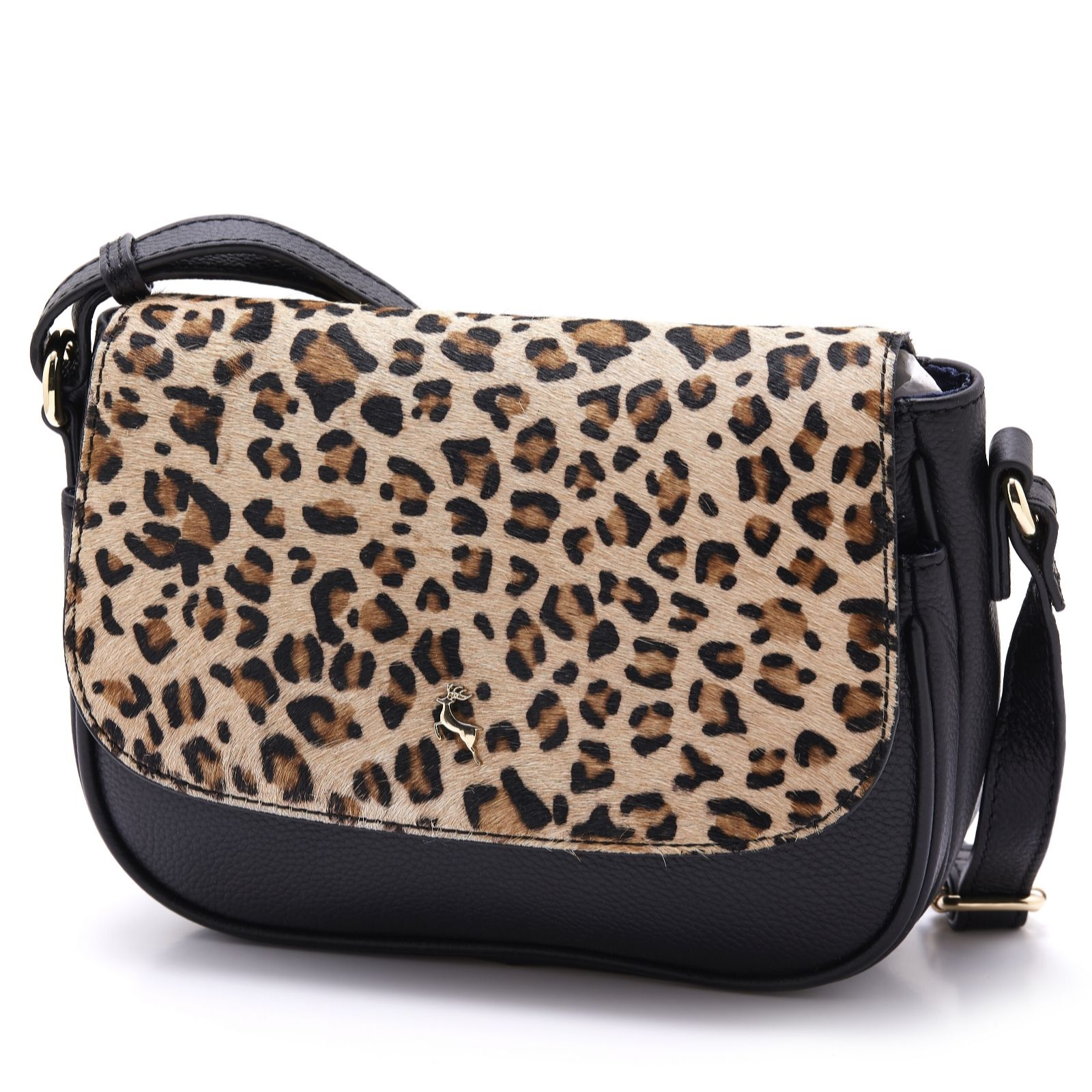 9a18bb1f597a Ashwood Leather Leopard Crossbody Bag - QVC UK