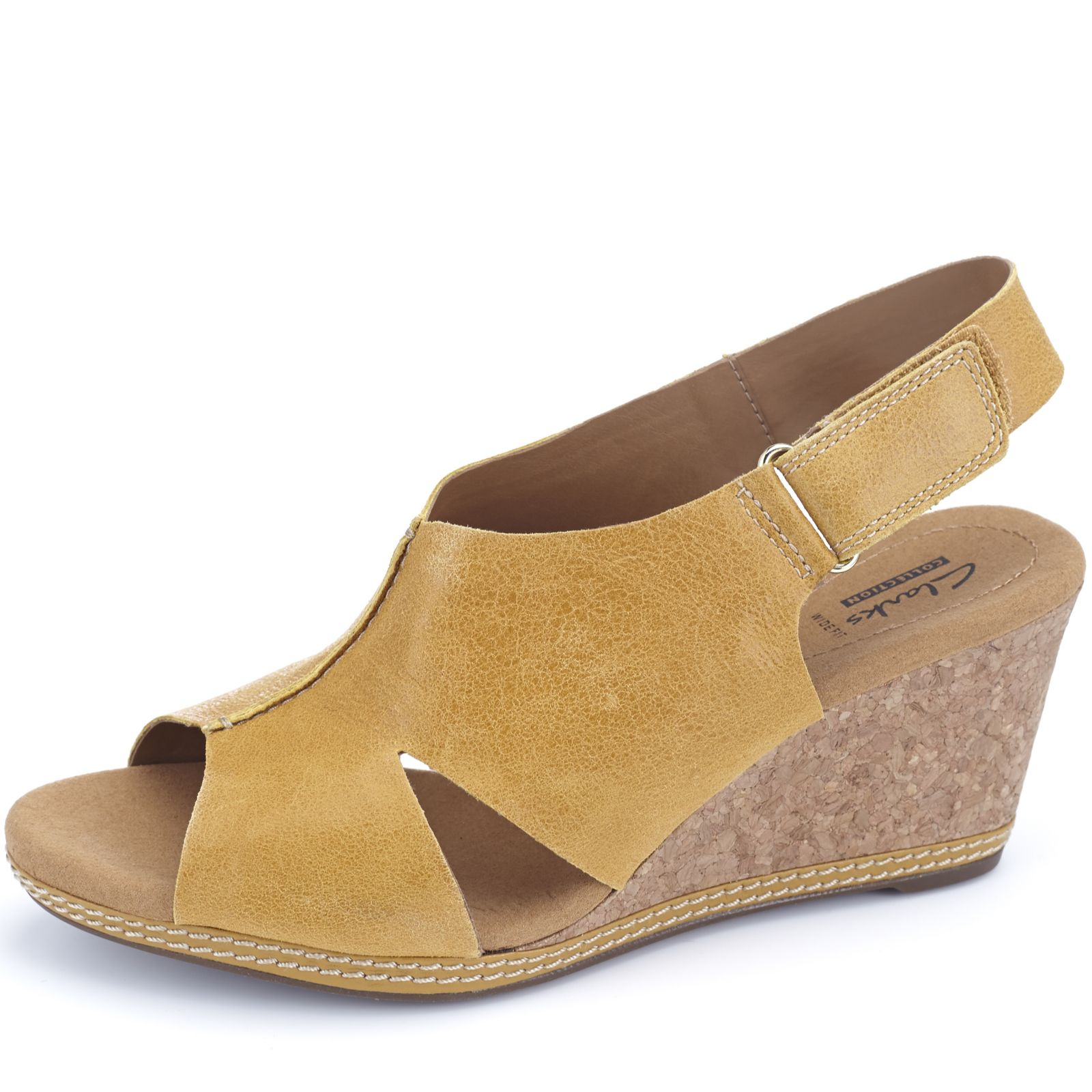 7081ceb726774f Clarks Helio Float Leather Wedge Sling Back Sandal Wide Fit - Page 1 - QVC  UK