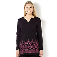 Artscapes Printed Border Notch Neck Tunic